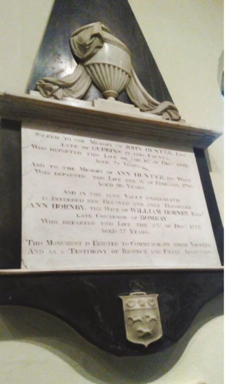 Photograph of Figure 12.4 Memorial to John and Ann Hunter, and her daughter Ann Hornby, St Mary's Church, North Mymms. Photograph courtesy of Chris Jeppesen