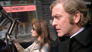 Michael Caine as Jack Carter, rescued by uber-sexy mobster's moll, drives him out of harm's way, Get Carter, Directed by Mike Hodges