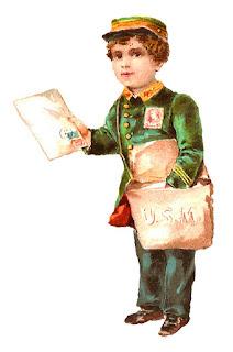 boy mail antique illustration postman image