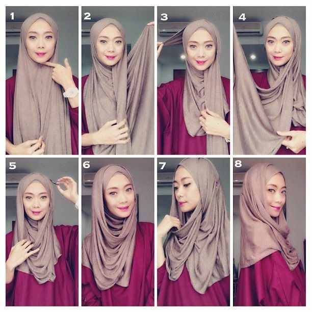 tutorial hijab pashmina bahan katun