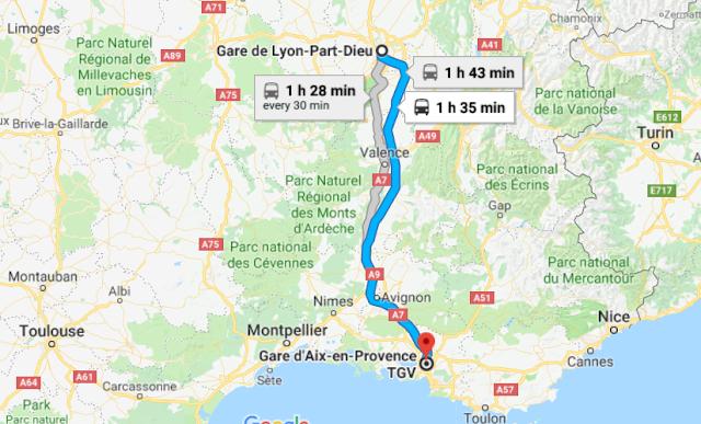 Mapa viagem de trem de Lyon a Aix