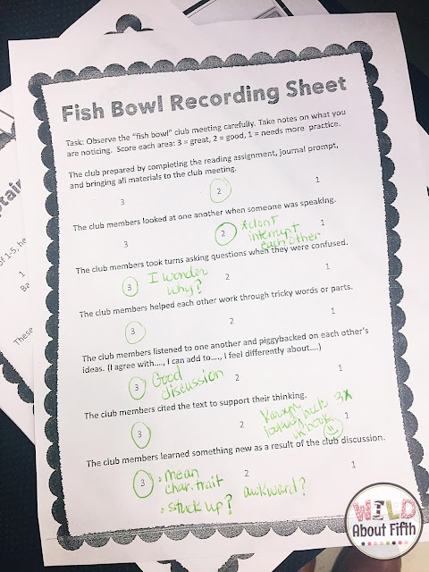 use fish bowl recording sheets to observe your book club meetings