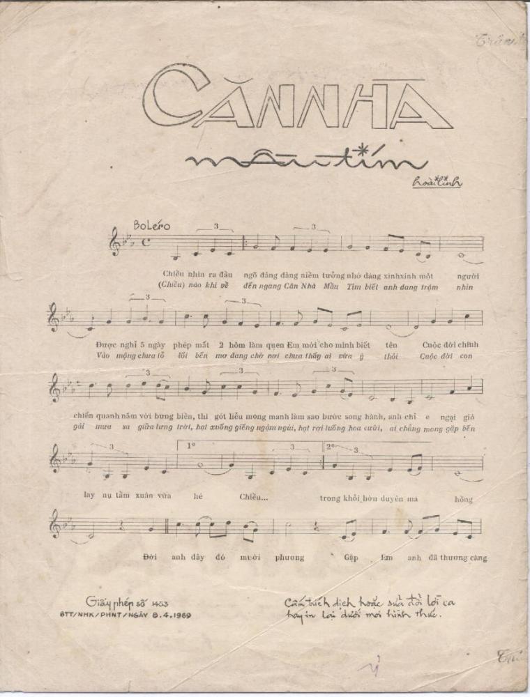 Sheet nhạc bài Căn nhà màu tím