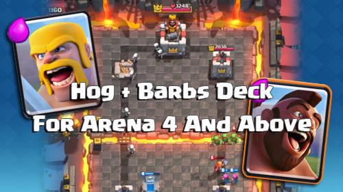 Deck Hog Barbarians di Arena 4 Keatas Clash Royale
