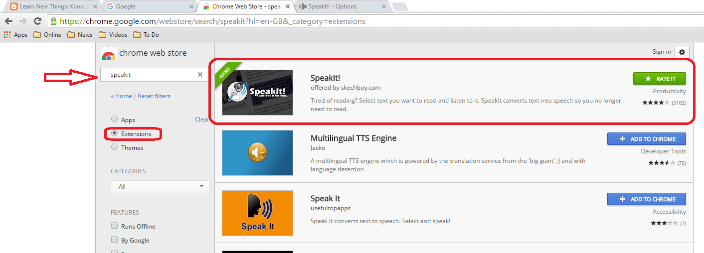 Learn New Things: Speakit Best Website Reading Extension for