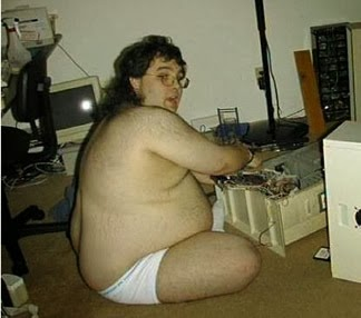 Fat Guy At Computer 6