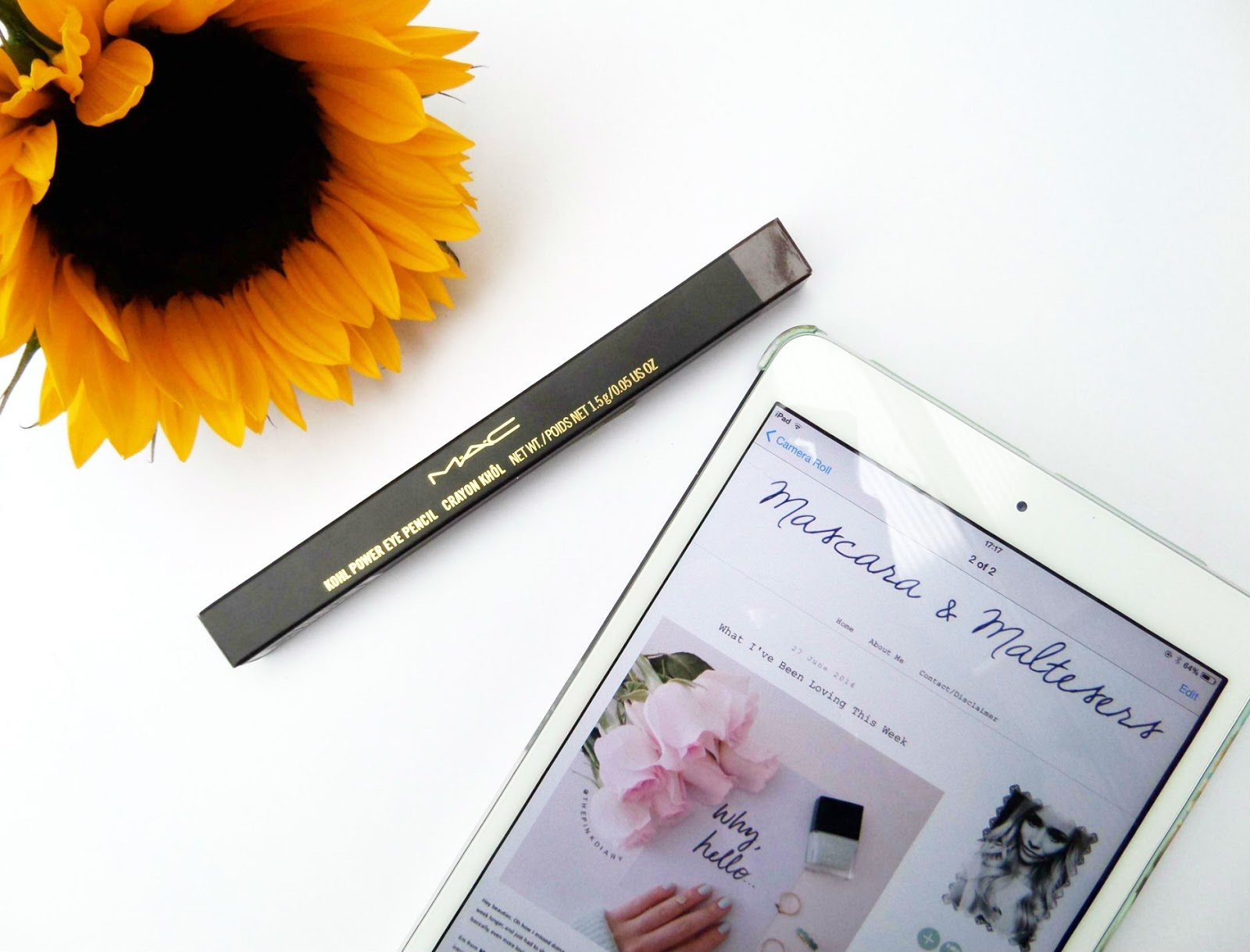 Sunflower, MAC Makeup and iPad Flat Lay
