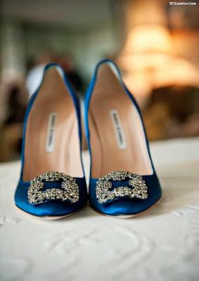 Zapatos de novia color azul