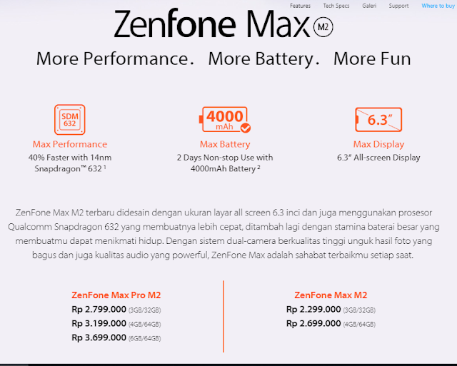 Harga ASUS Zenfone Max M2