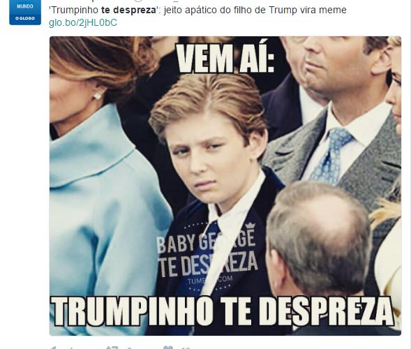"""Jornal """"O Globo"""" comete bullying contra filho de Trump"""