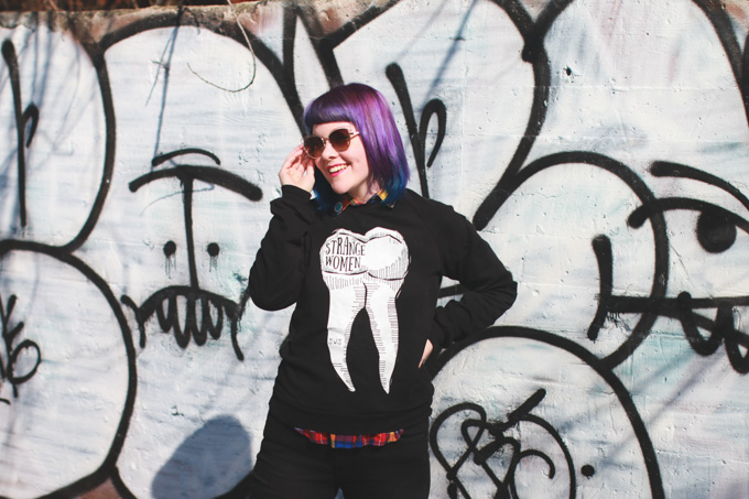 cleveland, blogger, tooth sweater, purple hair