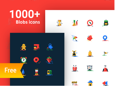 1000+ Free blobs flat icons with two styles