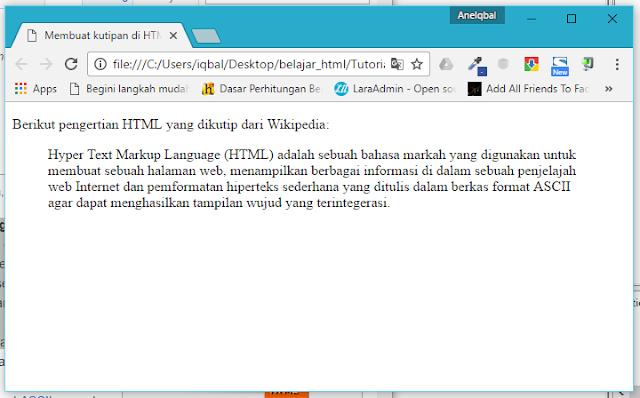 membuat quote di html