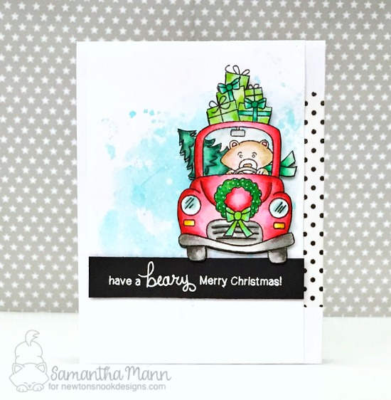 Bear Christmas card by Samantha  Mann| Inky Paws Challenge 38 | Sweater Weather Stamp Set by Newton's Nook Designs #newtonsnook