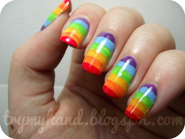 Hand Notd Rainbow Nails
