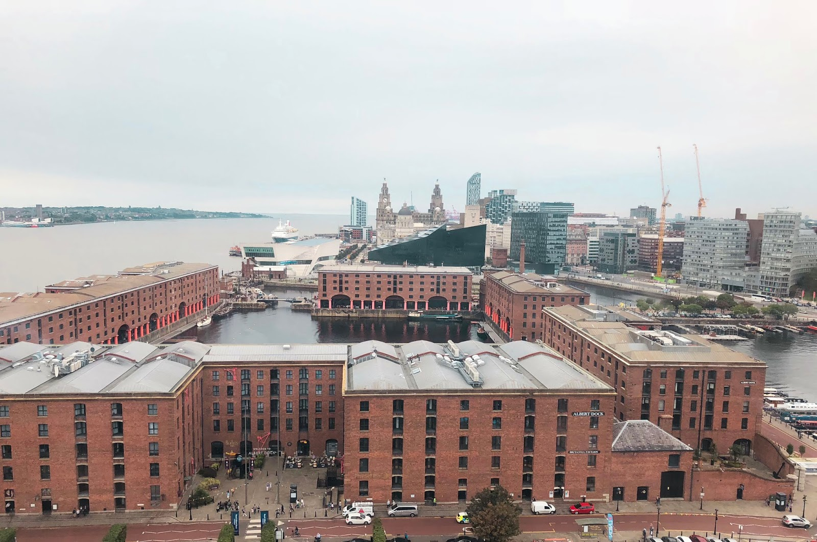 birds eye view of Liverpool taken from the Liverpool Wheel