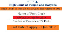 327 Clerk Recruitment Under High Court of Punjab and Haryana at Chandigarh