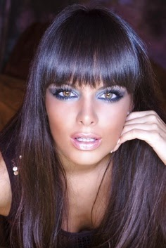 Dark Brown hair color with violet glaze