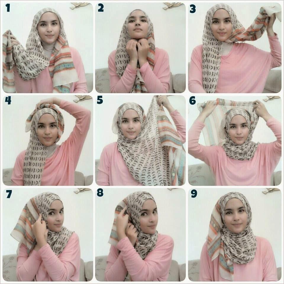 Berita Jari Tutorial 4 Wanita Cantik Gaya Hijab Segi Empat