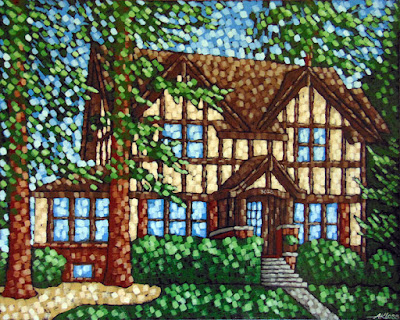 I Will Remember You painting by artist aaron kloss, painting of a house by kloss, tudor style house painting, craftsman style home house painting