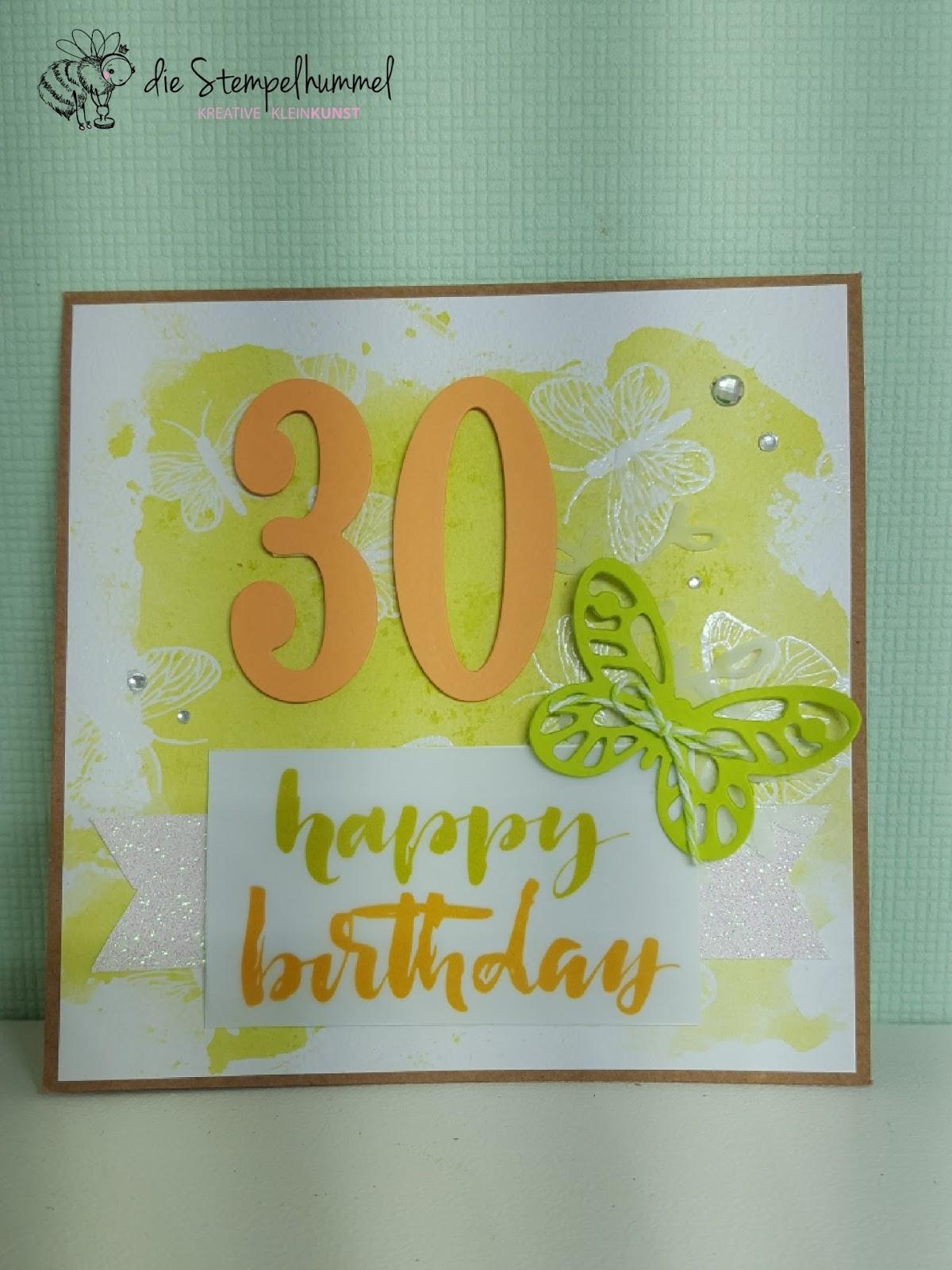 die Stempelhummel: Geburtstagskarte zum 30.