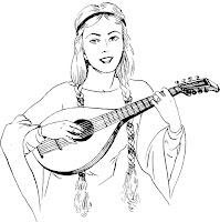דף צביעה אישה מנגנת על לאוטה