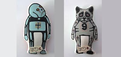 Bones & Cat Handmade Plush Figures by Mike Egan