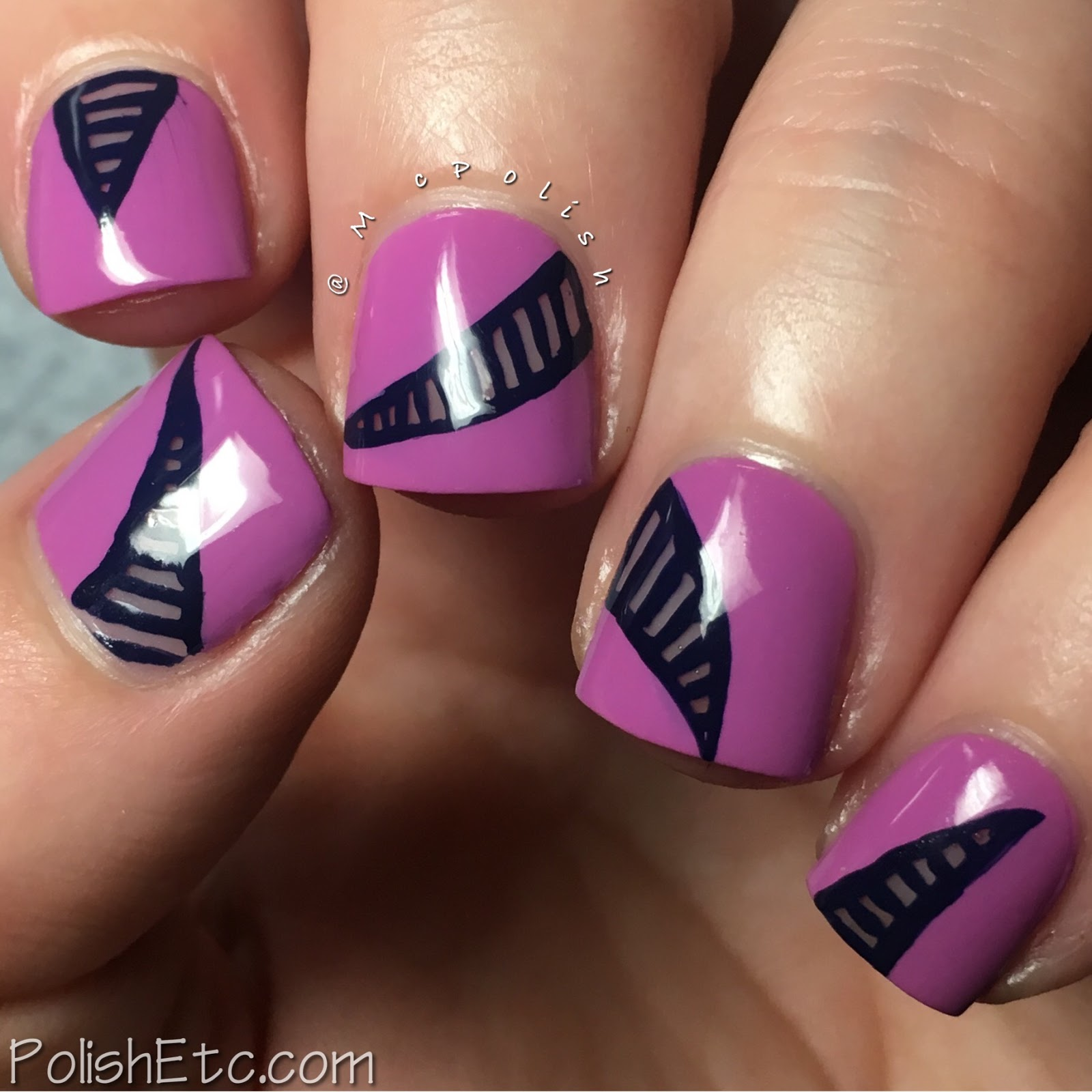 Negative space striped nails for the #31DC2017Weekly - McPolish - Zoya Perrie and Sailor