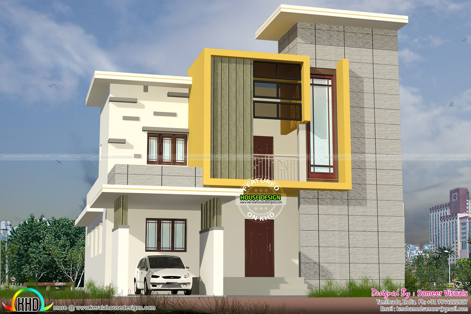 1700 sq ft modern box type residence kerala home design for Modern box house design