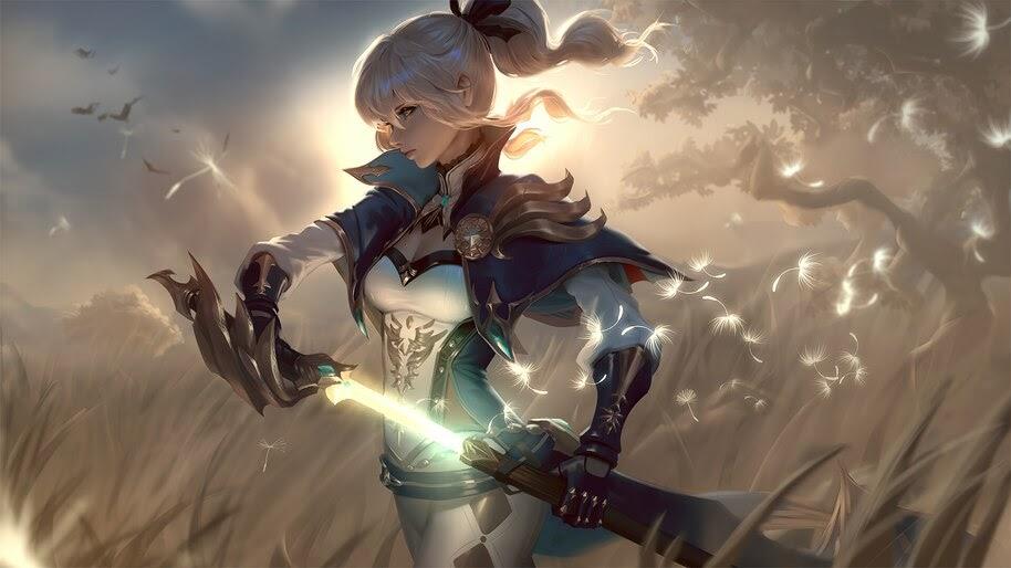 Fantasy, Girl, Warrior, Light Sword, 4K, #6.737