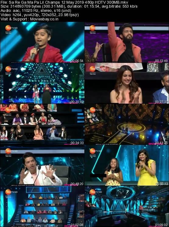 Screen Shoot of Sa Re Ga Ma Pa Lil Champs 12 May 2019 480p HDTV 300MB
