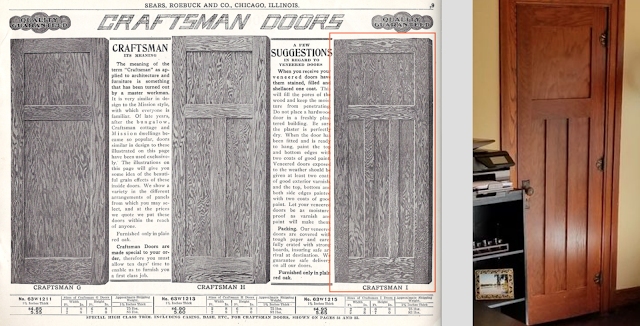 craftsman doors in Sears 1915 building materials catalog, next to craftsman-I door in room of  Sears Belmont • circa 1916 • 501 W. Spencer Avenue, Marion, Indiana