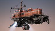 Fantasy flying train steampunk wallpaper