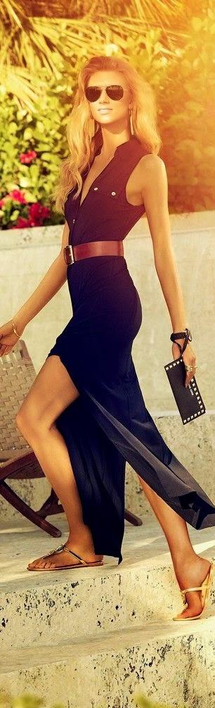 street style: black maxi safari dress