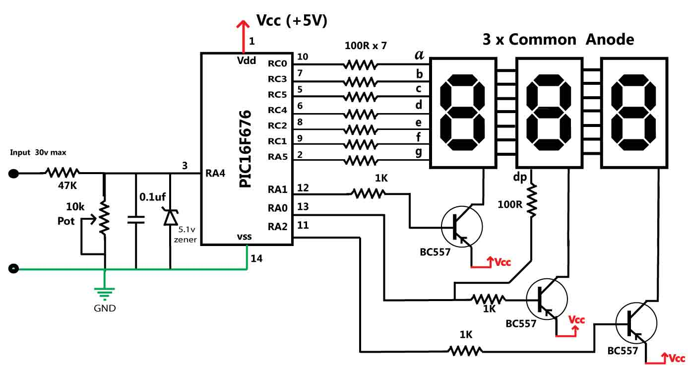 30V Volt Meter with PIC16F676 Circuit Diagram for Simple Voltmeter Diagram  104xkb