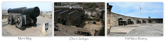 Gunst at Edinburgh Castle- Mond Meg, One o' clock gun and Half moon battery