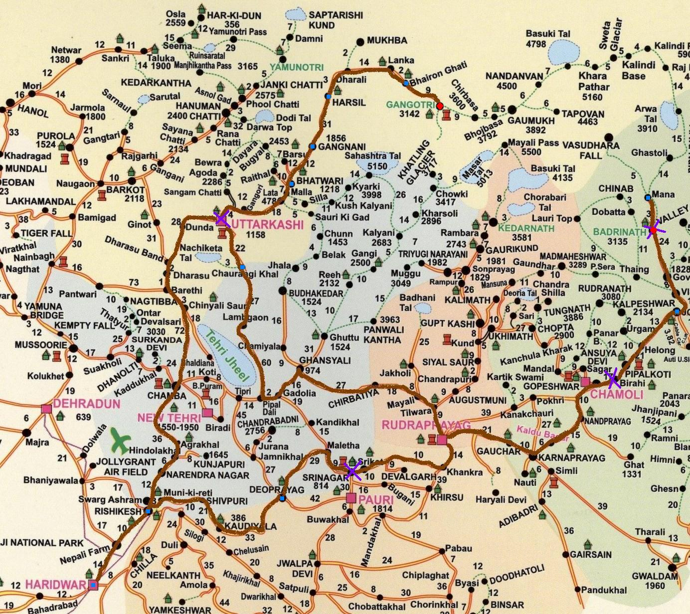 char dham route map garhwal himalayas