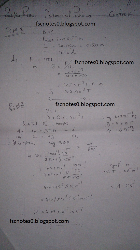 F.Sc ICS Notes: Physics XII: Chapter 14 Electromagnetism Numerical Problems Asad Hussain