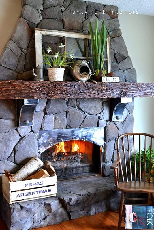 Spring fireplace mantel decorating ~ that never wilts ...