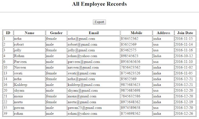 Export Data to Excel in PHP and MySQL