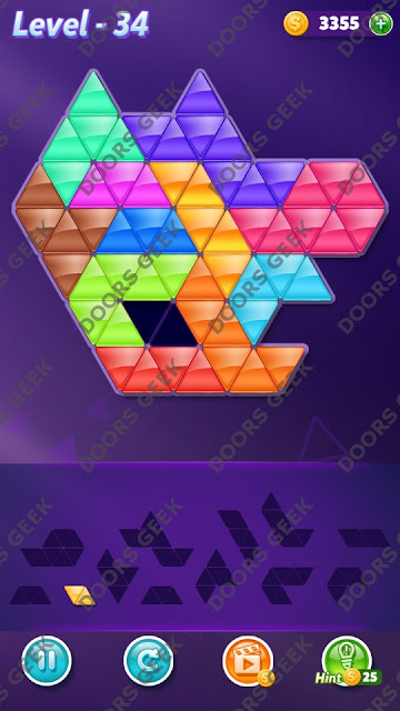 Block! Triangle Puzzle Grandmaster Level 34 Solution, Cheats, Walkthrough for Android, iPhone, iPad and iPod