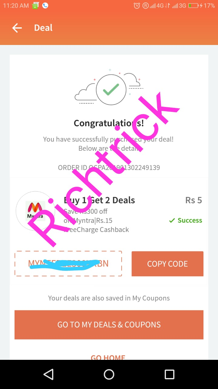 Buy 1 and Get 2 deal*** Get 15Rs freecharge cashback and