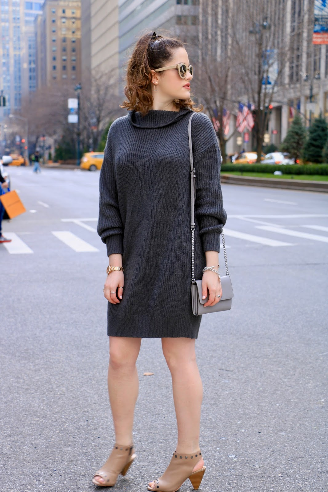 1a661a4e73 Kathleen s Fashion Fix  Comfort Zone    sweater dress + peep-toe booties