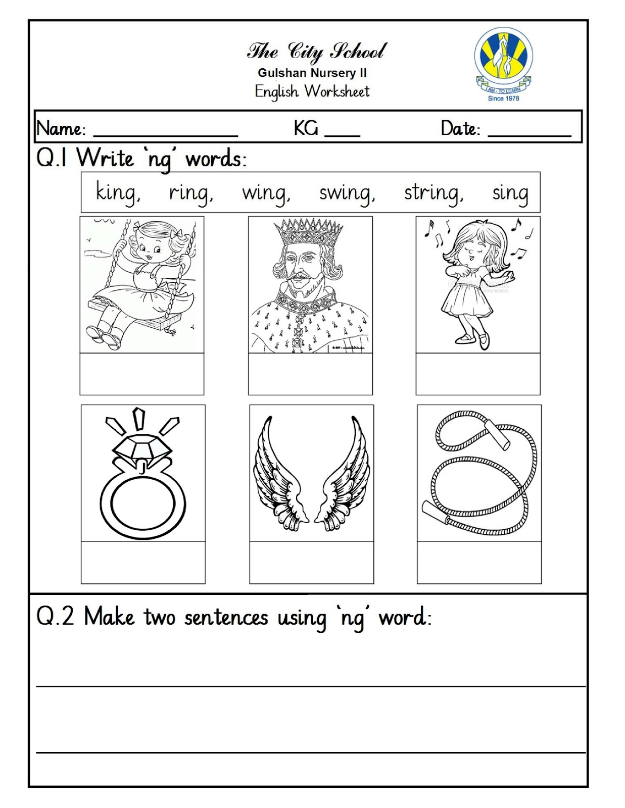 SR Gulshan The City Nursery-II: English and Math Worksheets
