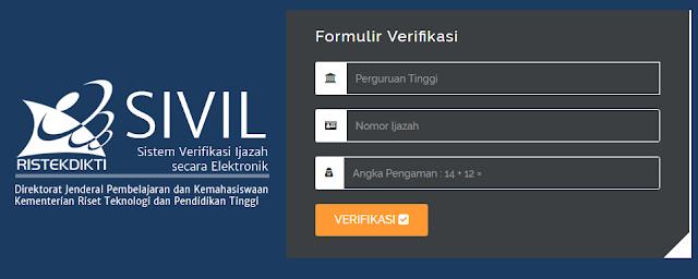 Aplikasi Sistem Verifikasi Ijazah Online Secara Elektronik  CARA CEK KEASLIAN (KEABSAHAN) IJAZAH PERGURUAN TINGGI (PTN – PTS) SECARA ONLINE MELALUI APLIKASI SIVIL