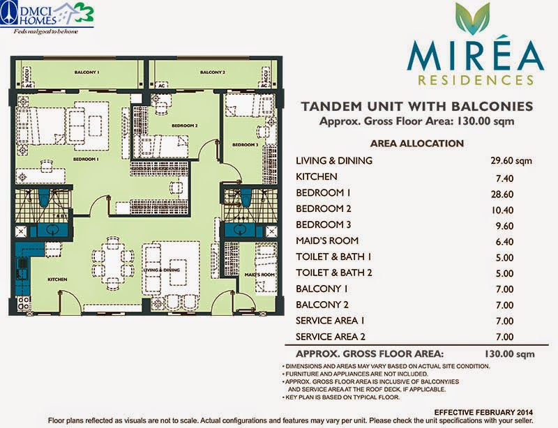 Mirea Residences 3-Bedroom w_Maid's Room Tandem Unit 130.00 sqm.