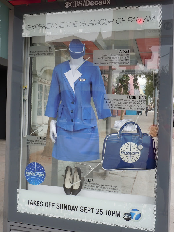 Pan Am outfit promotional bus shelter