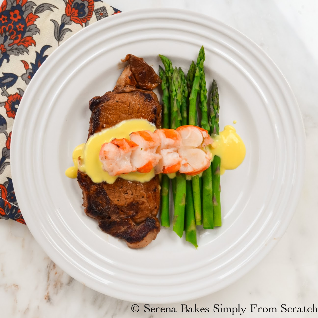 Perfectly Pan Seared Steak With Hollandaise Sauce And Lobster Tail