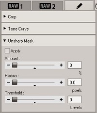 Olympus Viewer 3 Unsharp Mask tool
