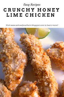 Tender juicy baked chicken strips drizzled with honey and lime make the perfect weeknight dinner. - Slice of Southern